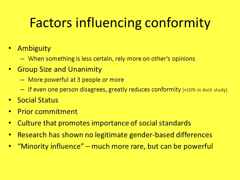 Factors influencing conformity