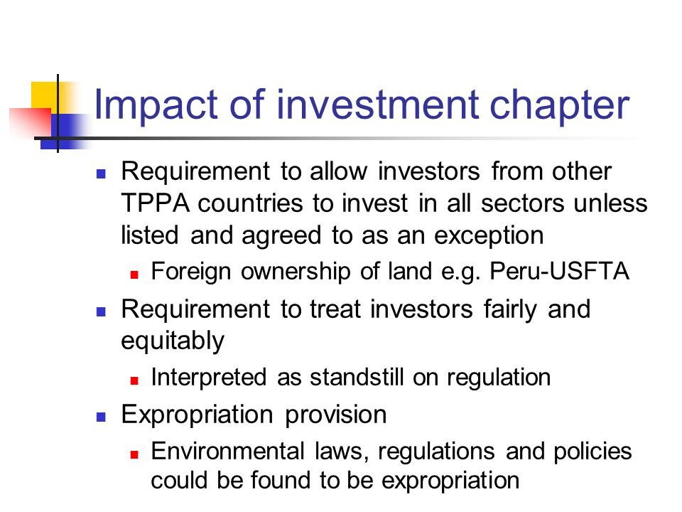 Impact of investment chapter