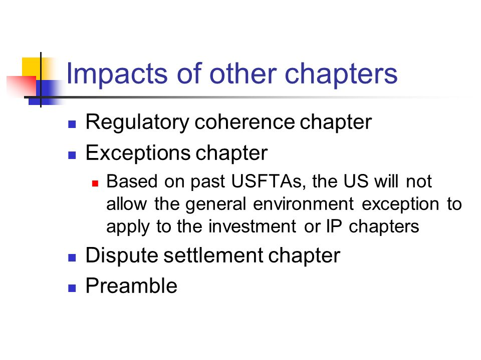 Impacts of other chapters