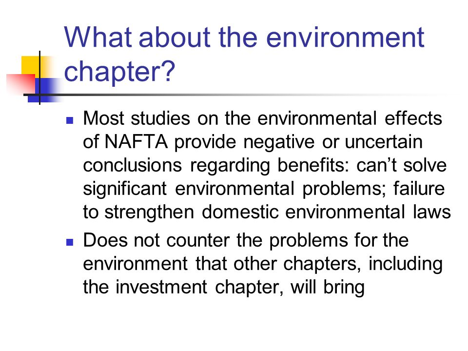 What about the environment chapter