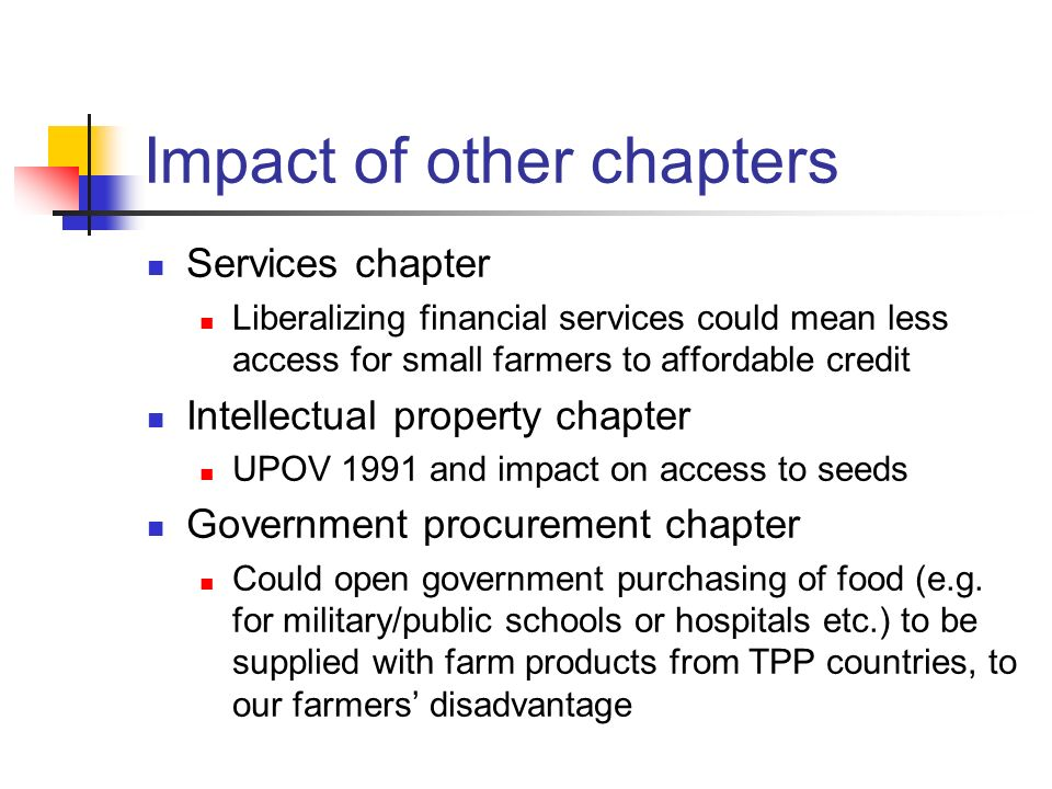 Impact of other chapters