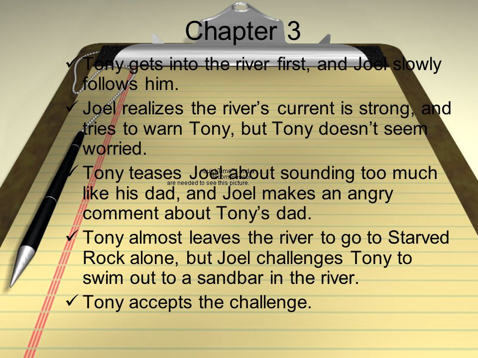 Chapter 3 Tony gets into the river first, and Joel slowly follows him.