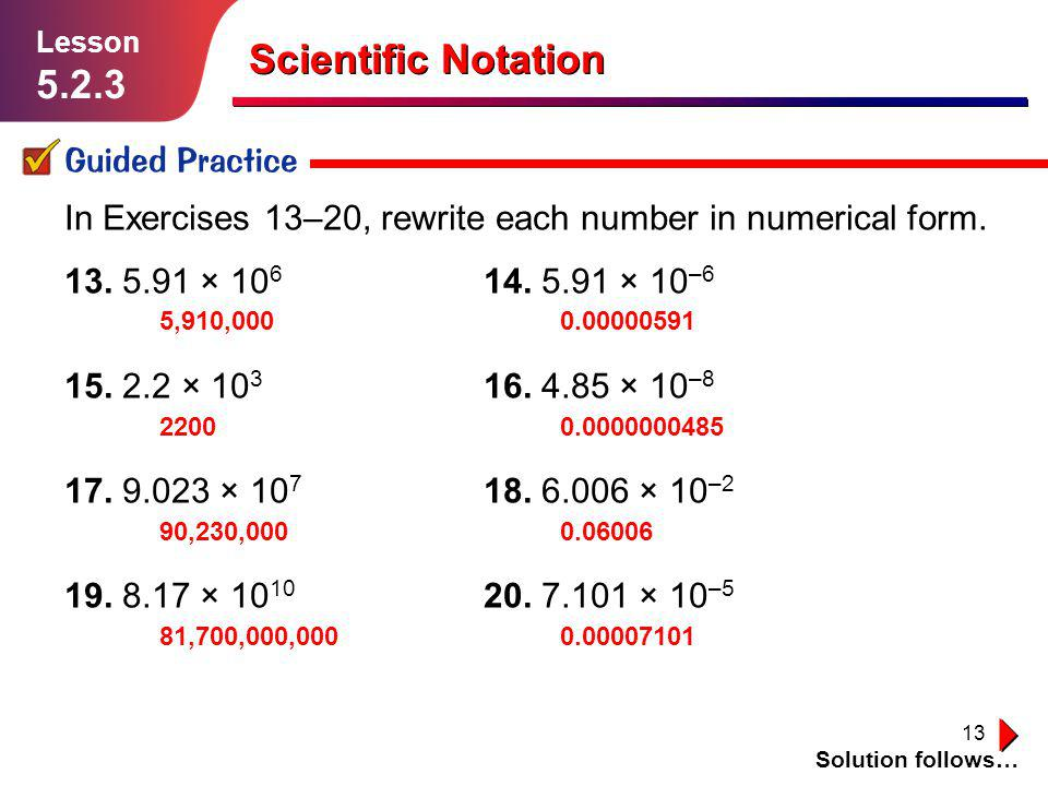 Scientific Notation 5.2.3 Guided Practice