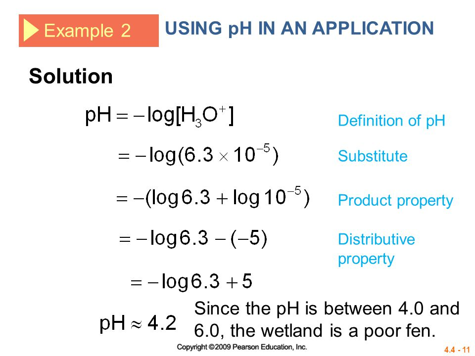 Solution USING pH IN AN APPLICATION Example 2