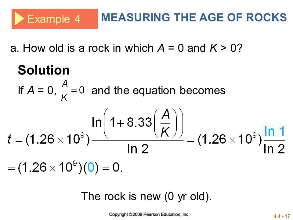 Solution MEASURING THE AGE OF ROCKS Example 4