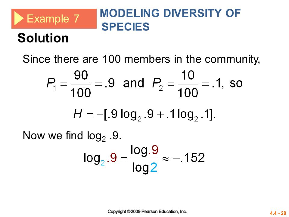 Solution MODELING DIVERSITY OF SPECIES Example 7