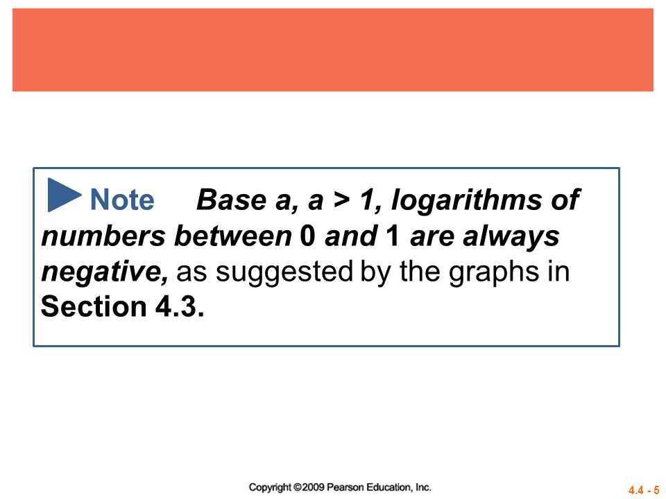 Note Base a, a > 1, logarithms of numbers between 0 and 1 are always negative, as suggested by the graphs in Section 4.3.