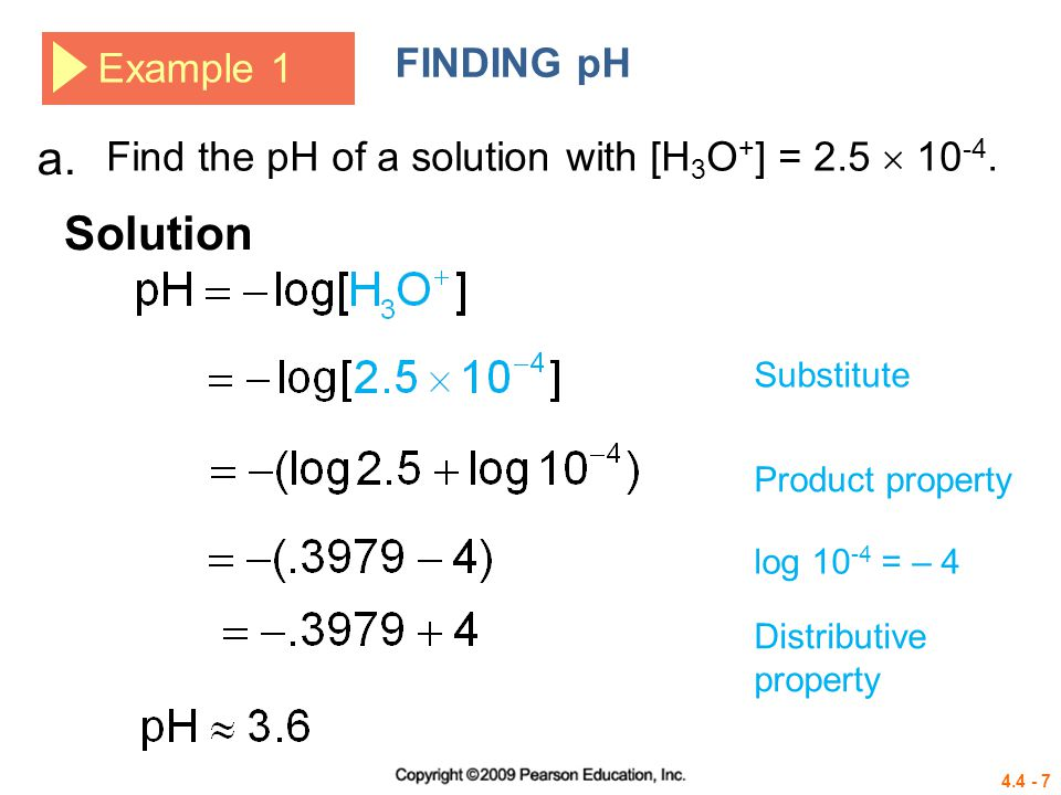 a. Solution FINDING pH Example 1