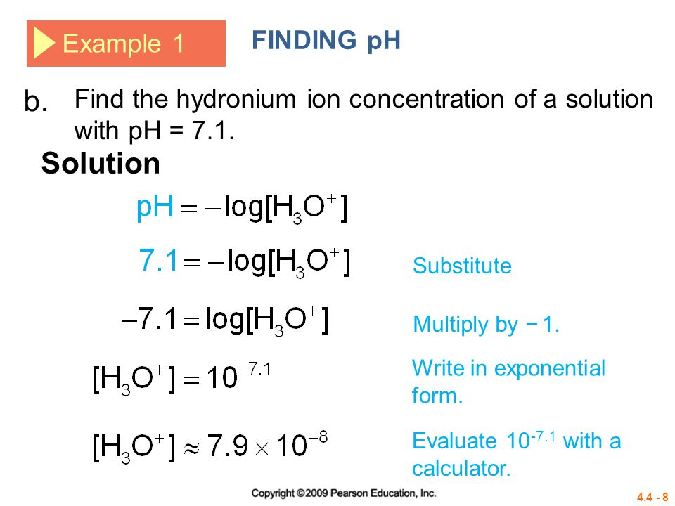 b. Solution FINDING pH Example 1