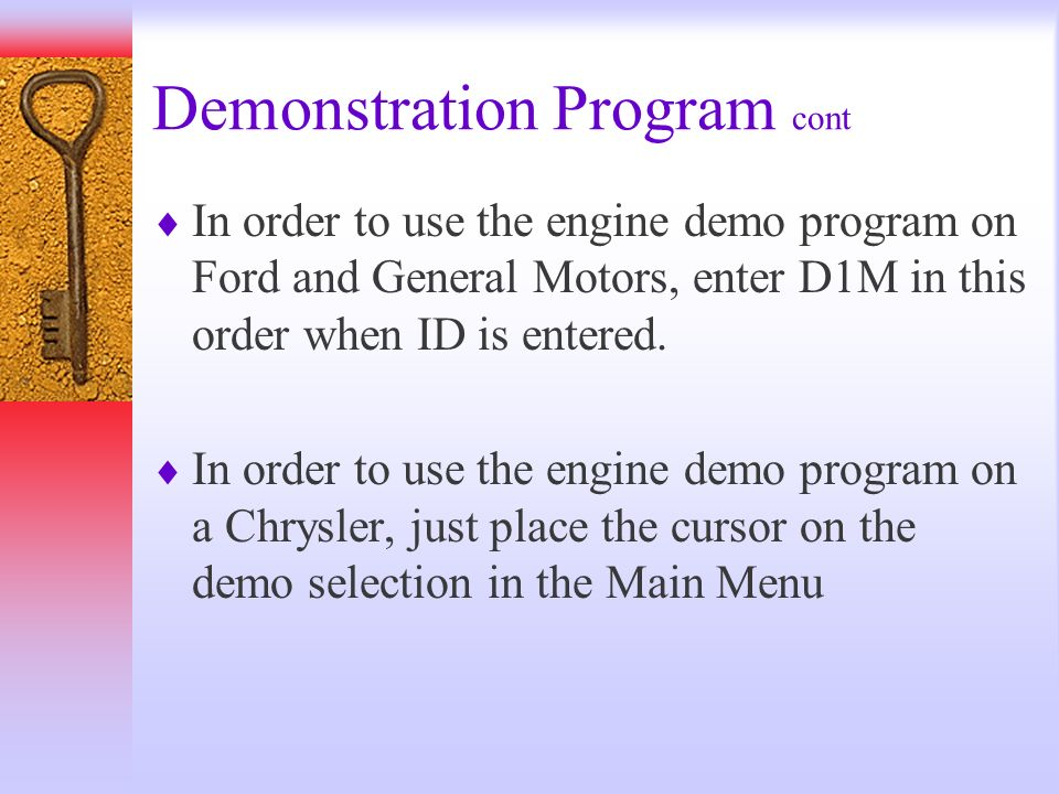 Demonstration Program cont