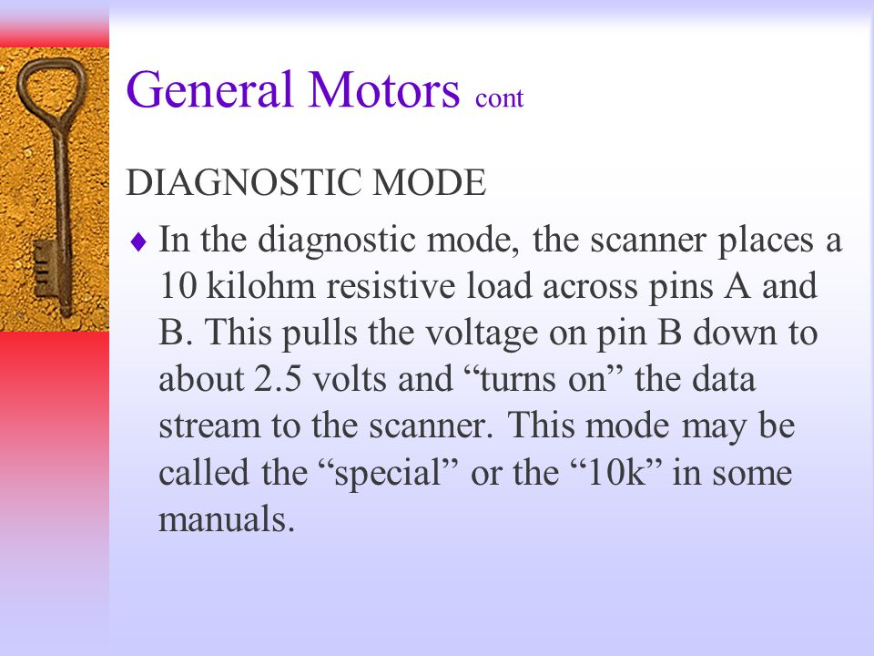 General Motors cont DIAGNOSTIC MODE