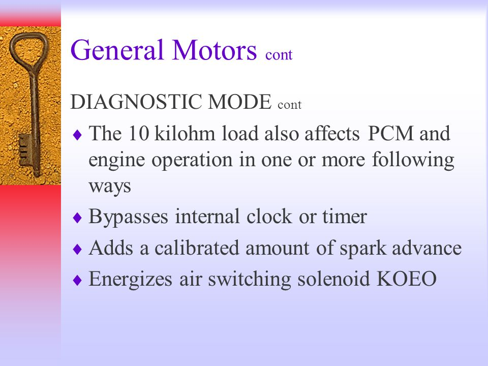 General Motors cont DIAGNOSTIC MODE cont