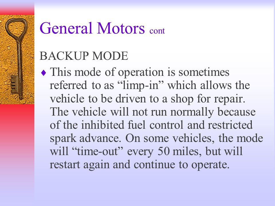 General Motors cont BACKUP MODE
