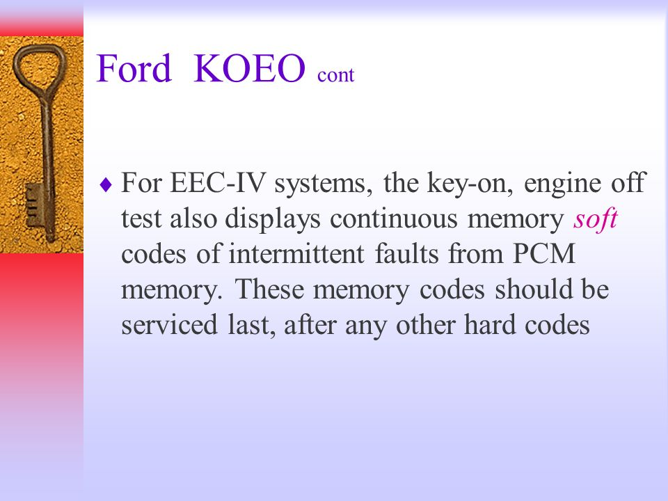Ford KOEO cont