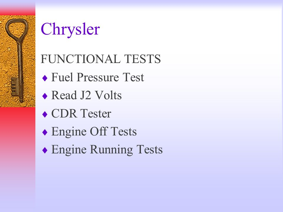 Chrysler FUNCTIONAL TESTS Fuel Pressure Test Read J2 Volts CDR Tester