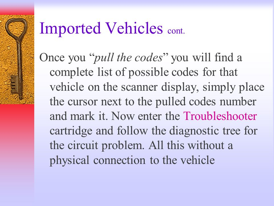 Imported Vehicles cont.
