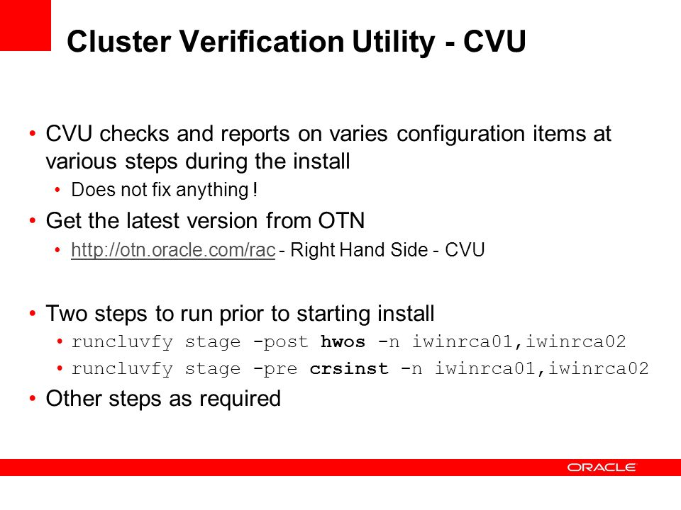 Cluster Verification Utility - CVU