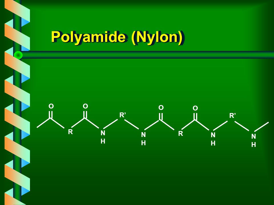 Polyamide (Nylon) O O O O R' R' R N H N H R N H N H