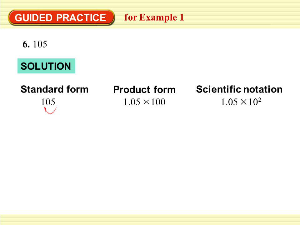 GUIDED PRACTICE for Example 1. 6. 105. SOLUTION. Standard form. 105. Product form. 1.05 100.
