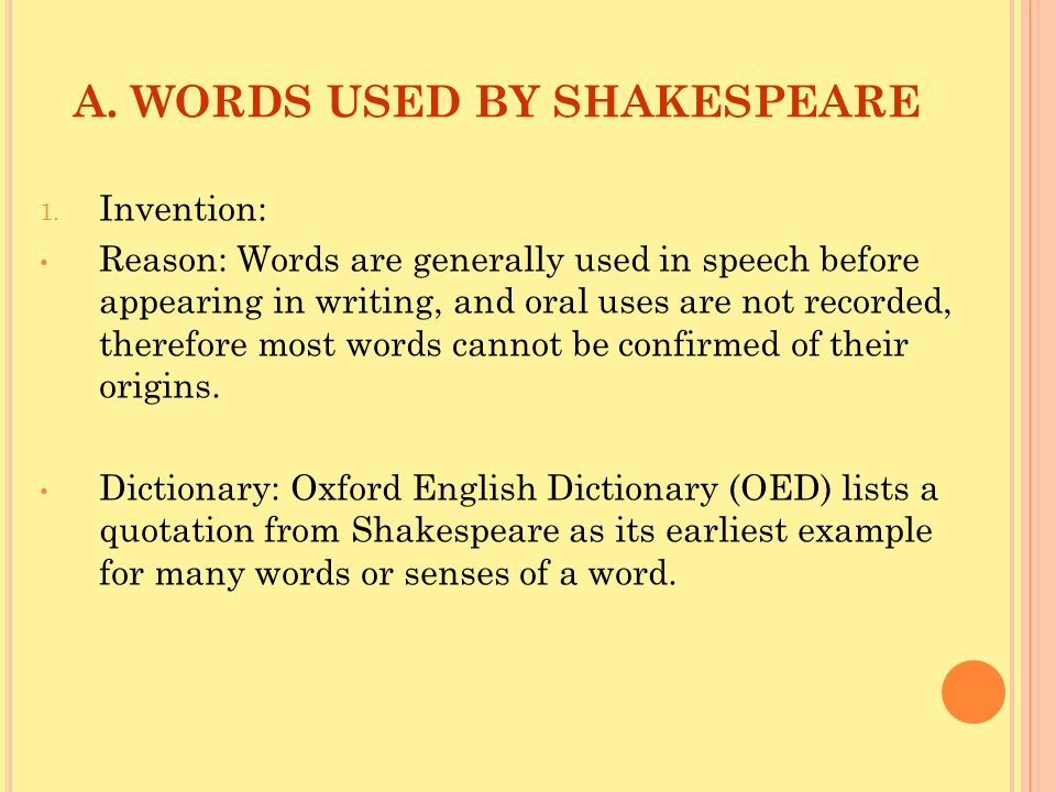 A. WORDS USED BY SHAKESPEARE