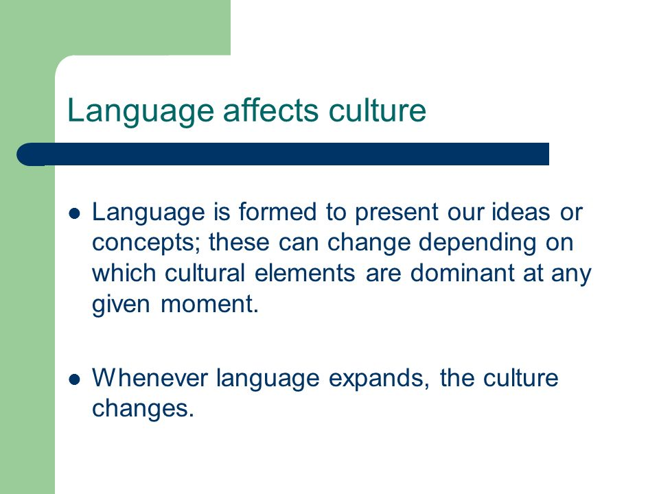 Language affects culture