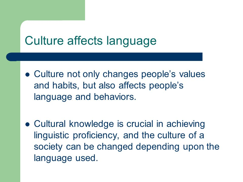 Culture affects language