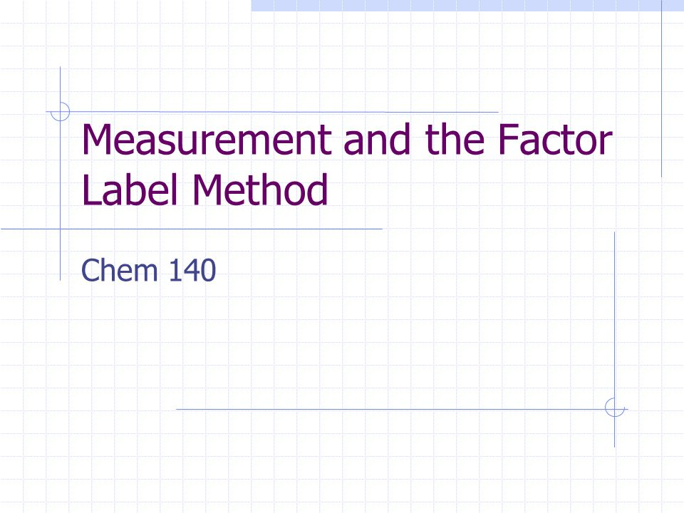 Measurement and the Factor Label Method