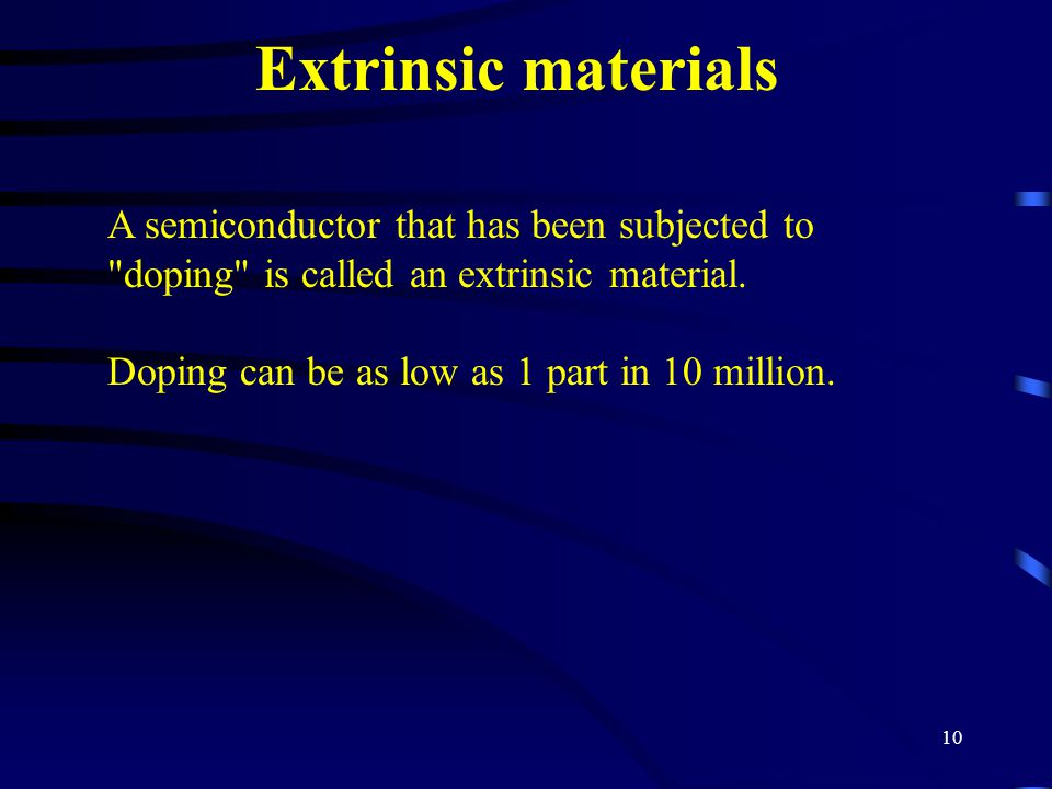 Extrinsic materials A semiconductor that has been subjected to doping is called an extrinsic material.