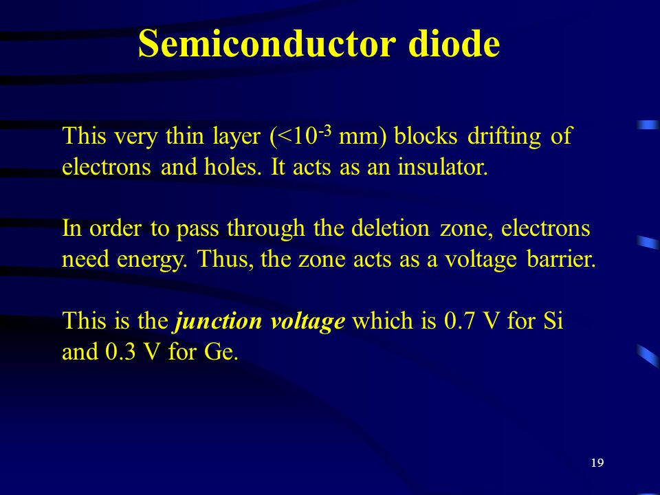 Semiconductor diode This very thin layer (<10-3 mm) blocks drifting of electrons and holes. It acts as an insulator.