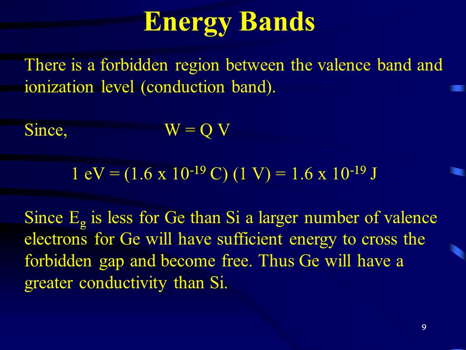 Energy Bands There is a forbidden region between the valence band and ionization level (conduction band).