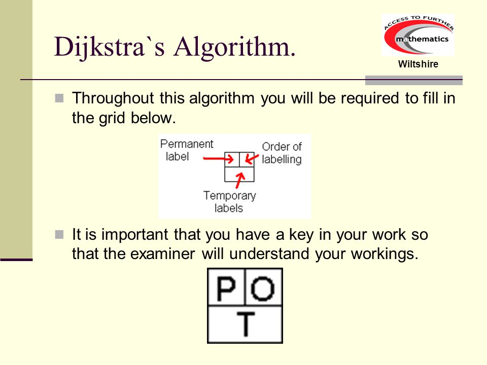 Dijkstra`s Algorithm. Throughout this algorithm you will be required to fill in the grid below.