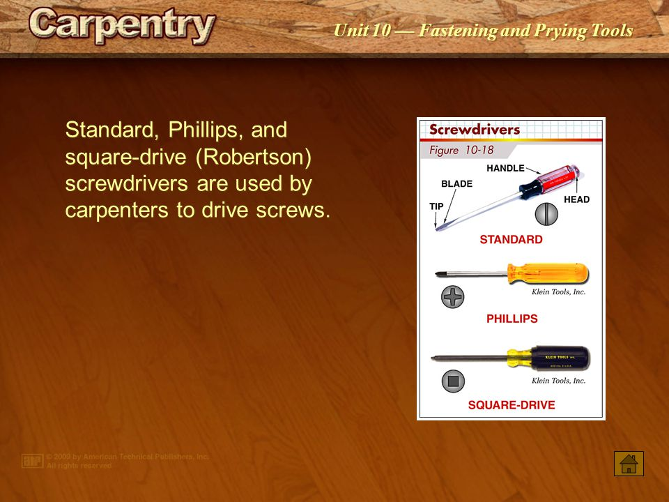 Standard, Phillips, and square-drive (Robertson) screwdrivers are used by carpenters to drive screws.