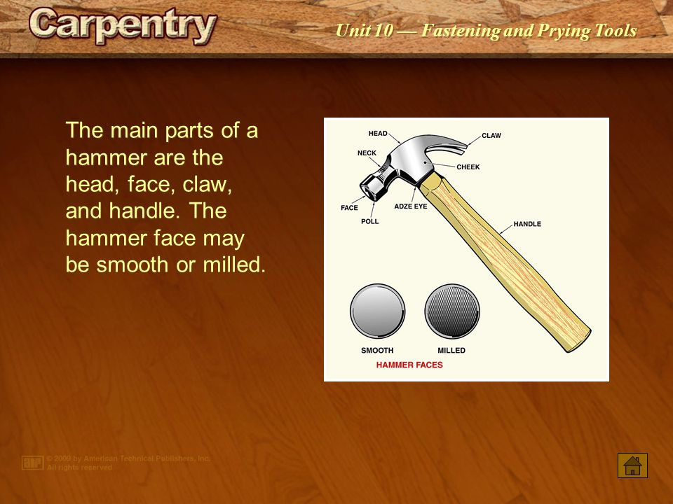 The main parts of a hammer are the head, face, claw, and handle