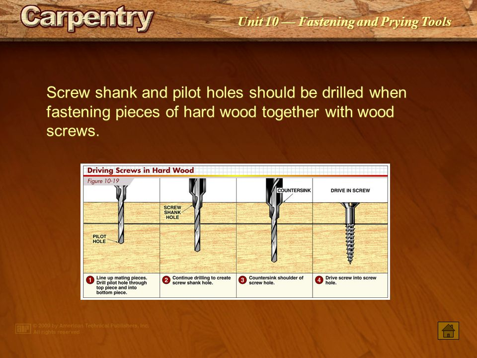 Screw shank and pilot holes should be drilled when fastening pieces of hard wood together with wood screws.
