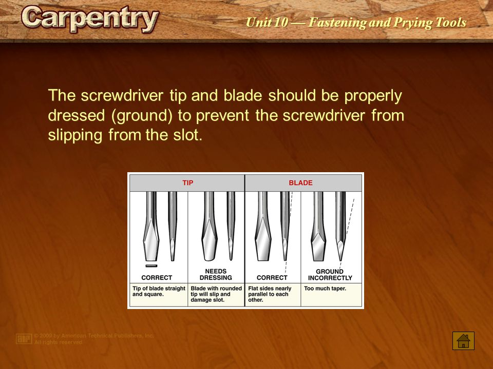 The screwdriver tip and blade should be properly dressed (ground) to prevent the screwdriver from slipping from the slot.
