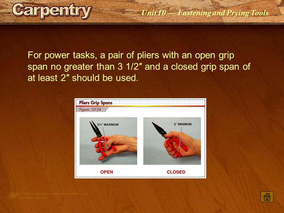 For power tasks, a pair of pliers with an open grip span no greater than 3 1/2″ and a closed grip span of at least 2″ should be used.