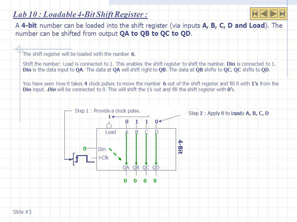 Lab 10 : Loadable 4-Bit Shift Register :