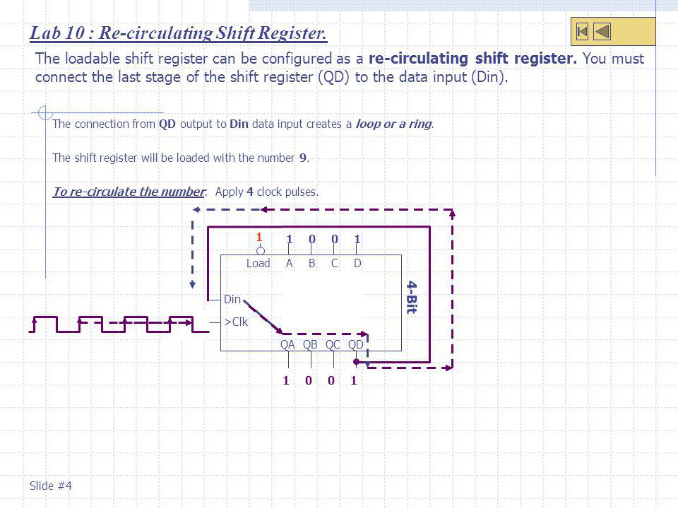 Lab 10 : Re-circulating Shift Register.