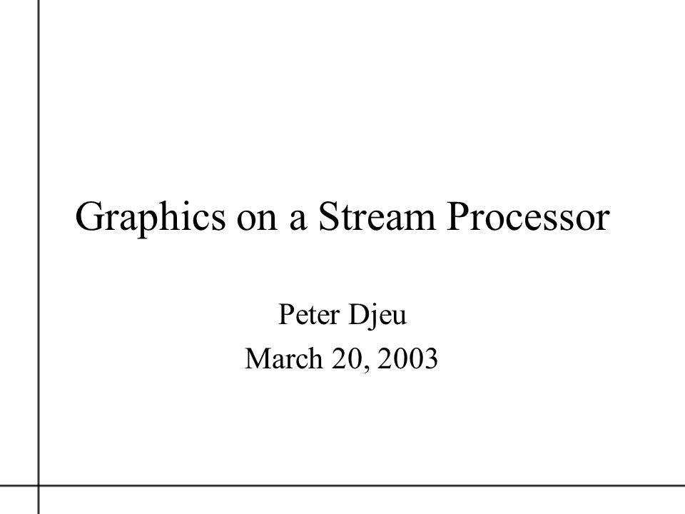 Graphics on a Stream Processor