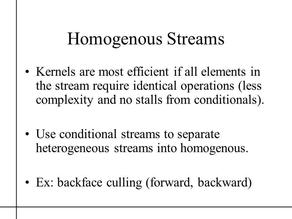 Homogenous Streams