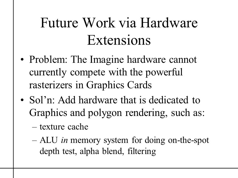 Future Work via Hardware Extensions