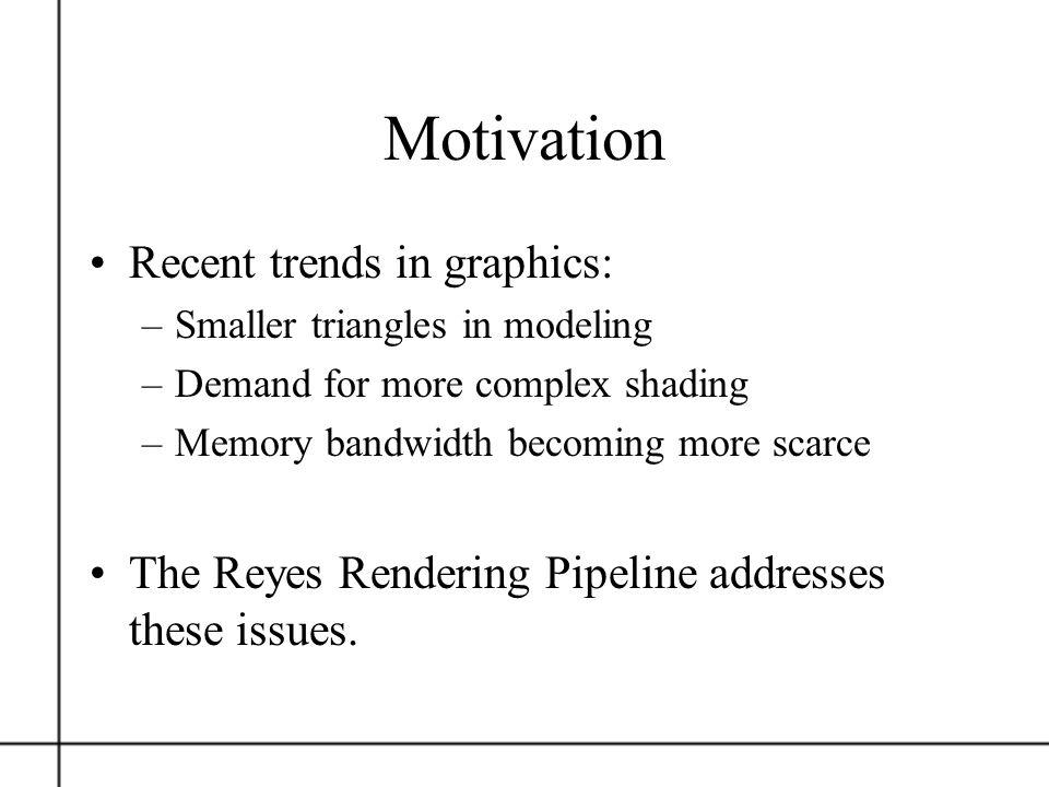 Motivation Recent trends in graphics: