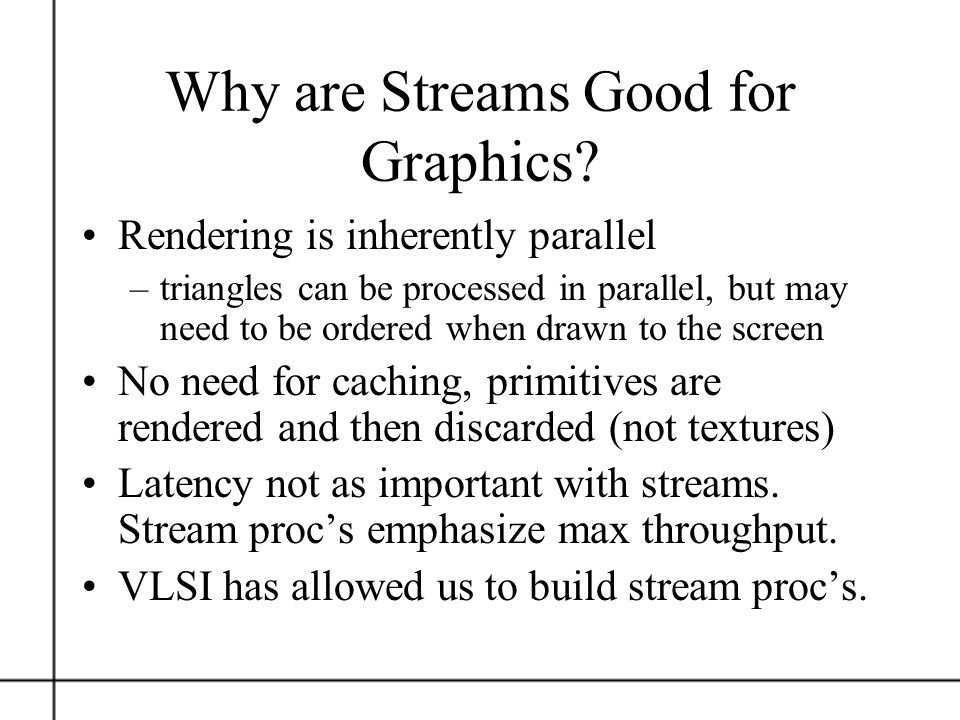 Why are Streams Good for Graphics