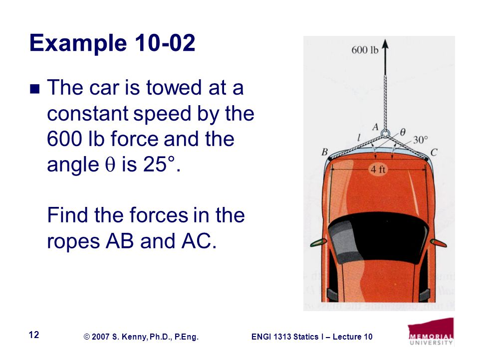 Example 10-02 The car is towed at a constant speed by the 600 lb force and the angle  is 25°.