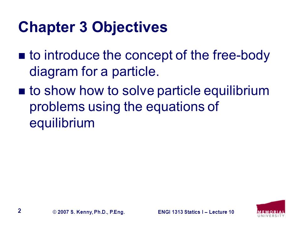 Chapter 3 Objectives to introduce the concept of the free-body diagram for a particle.