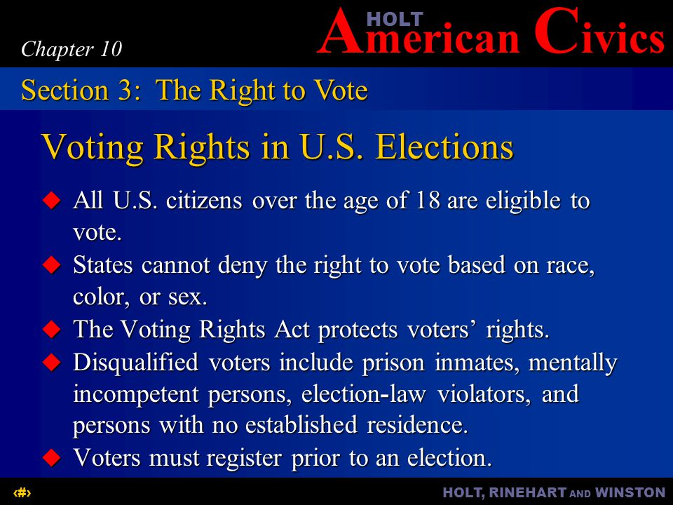 Voting Rights in U.S. Elections
