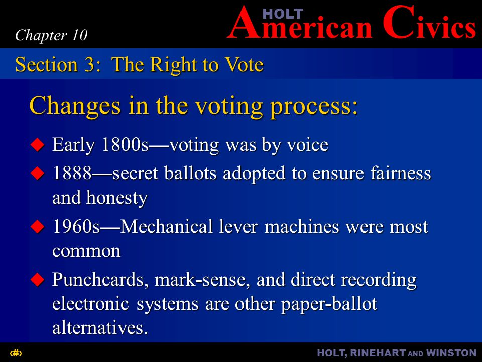Changes in the voting process: