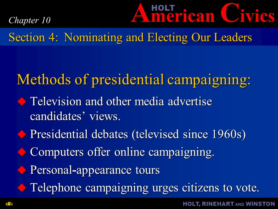 Methods of presidential campaigning: