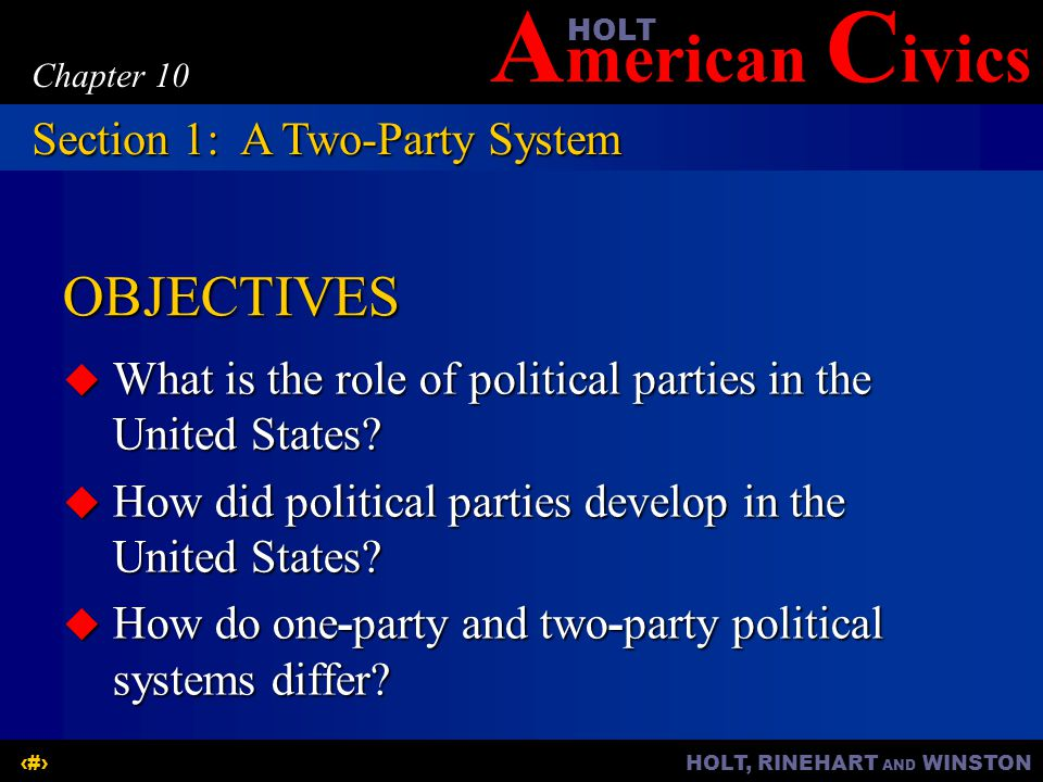 OBJECTIVES Section 1: A Two-Party System