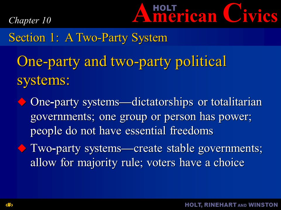 One-party and two-party political systems:
